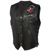 Ladies Genuine Leather Vest w/Patches- Small