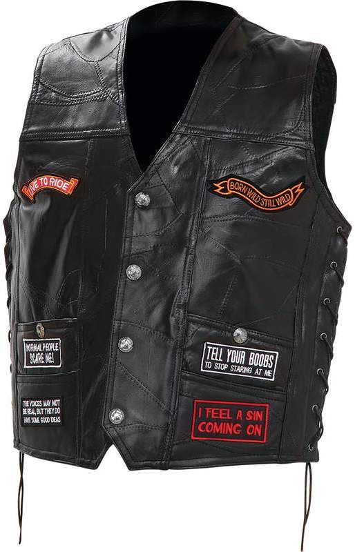 Diamond Plate Rock Design Genuine Buffalo Leather Concealed Carry BIKER Vest with 16 Patches - 4X [1