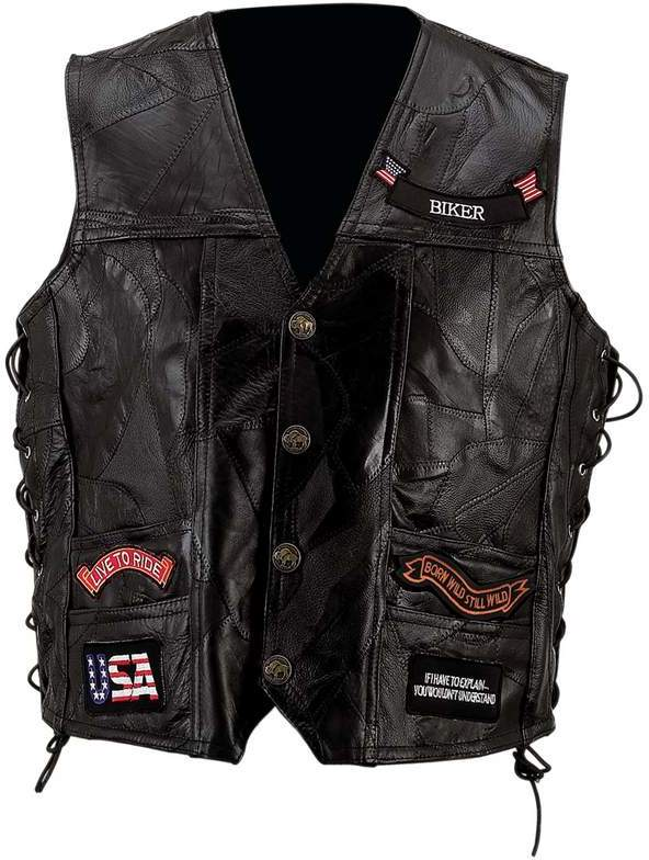 Diamond Plate Rock Design Genuine Buffalo LEATHER VEST - Large #L41K [1225259]