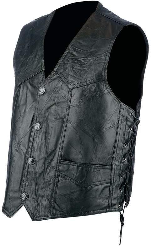 Rocky Ranch Hides Rock Design Genuine Hog LEATHER Biker Vest - 2X [1225293]