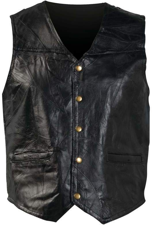 Giovanni Navarre(R) Italian Stone Design Genuine LEATHER VEST - Large [35228]