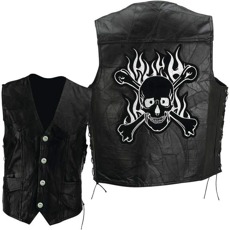 Diamond Plate Rock Design Genuine Buffalo LEATHER Motorcycle Vest - Large [1225309]