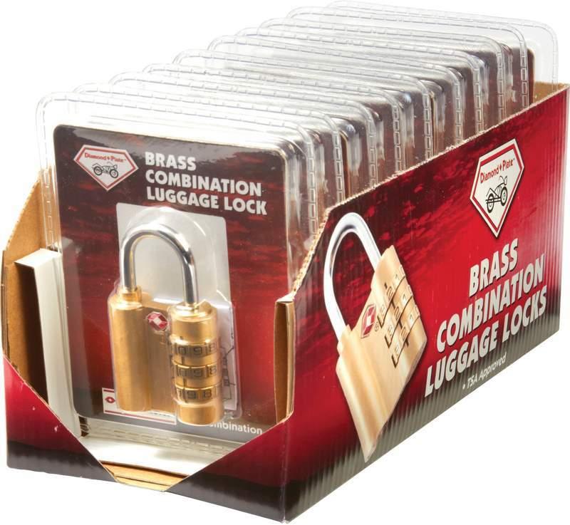 Diamond Plate 10 piece Brass Combination LUGGAGE Locks in Countertop Display [1993782]