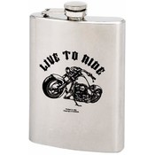 Maxam  8oz S/S Hip Flask Live to Road