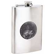Maxam  8oz S/S Flask w/  Fishing Emblem