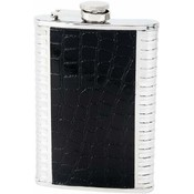 Maxam  8oz S/S Flask w/ Black Faux Leather Wrap