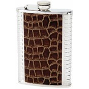 Maxam  8oz S/S Flask w/ Brown Faux Leather Wrap