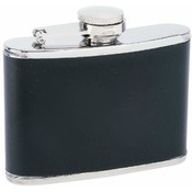 Maxam  4oz S/S Flask with Black Wrap