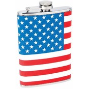 Maxam  8oz S/S Flask with American Flag Wrap