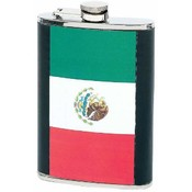 8oz Stainless Steel Flask with Mexican Flag Insert