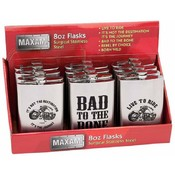 Maxam  12pc 8oz S/S Flasks in Countertop Display