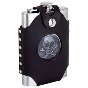 Maxam 8oz S/S Flask with Skull & Crossbones Emblem