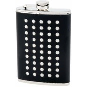 Maxam  8oz S/S Flask w/ Studded Faux Leather Wrap