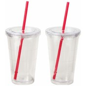 Maxam 2pc Double Wall 16oz Clear Tumbler Set