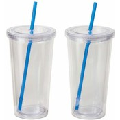 Maxam 2pc 20oz Double Wall Clear Tumbler Set