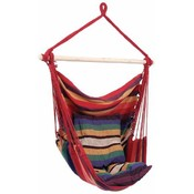 Club Fun Hanging Rope Chair- Red/Multi