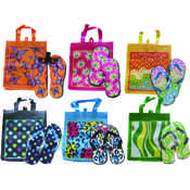 Ladies Printed Flip Flop with Matching Tote Bag