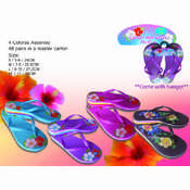 Ladies Comfort High Wedge Flip Flops Floral Patterns