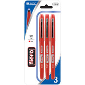 BAZIC Fiero Red Fiber Tip Fineliner Pen (2/Pack)