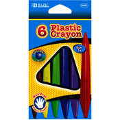 BAZIC 6 Color Dual Tip Triangle Plastic Crayon Wholesale Bulk