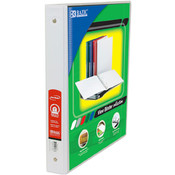 "Bazic 1"" White PVC 3-Ring View Binder"