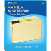 BAZIC 1/3 Cut Letter Size Manila File Folder (100/Box) Wholesale Bulk
