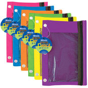 BAZIC Bright Color 3-Ring Pencil Pouch-Mesh Window