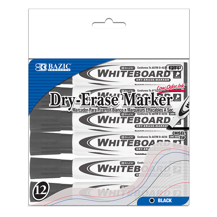Bazic Black Chisel Tip Dry-Erase Markers - 12/Box [1236568]