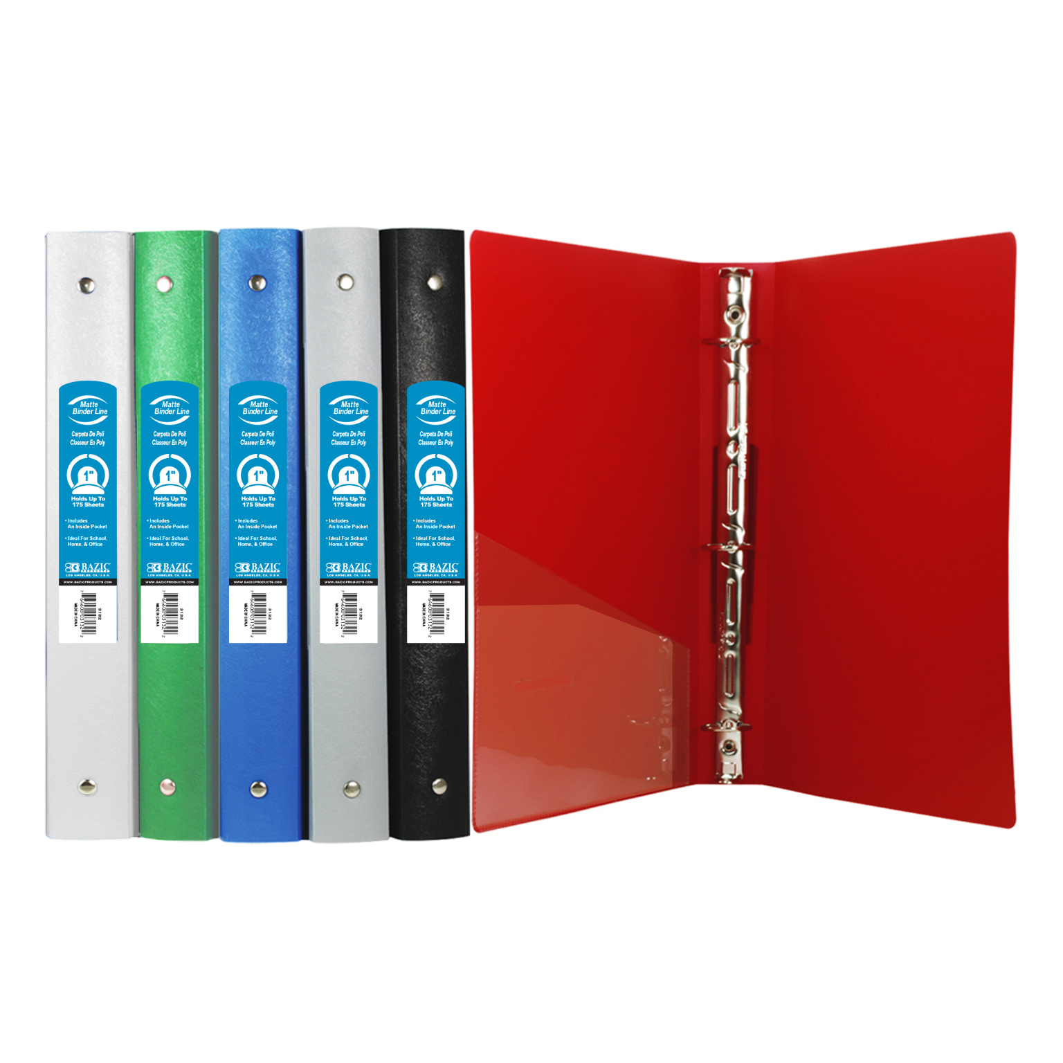 wholesale bazic 1 quot matte color poly 3 ring binder w