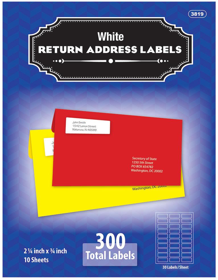 ''BAZIC 3/4'''' X 2 1/4'''' White Return Address Labels [1938715]''