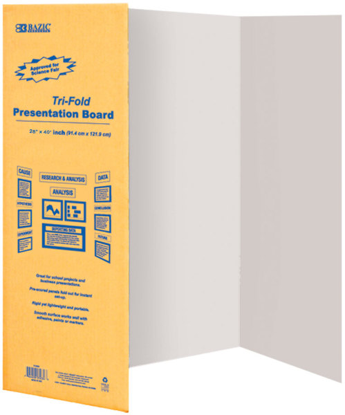 ''BAZIC 28'''' X 40'''' White Tri-Fold Corrugated Presentation Board (1336438)''