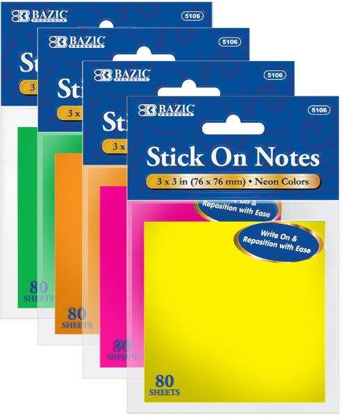 ''BAZIC 80 Ct. 3'''' X 3'''' Neon Stick On NOTES [1818212]''