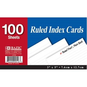 ''Bazic 100 Count 3'''' x 5'''' Ruled White Index Card (310193)''
