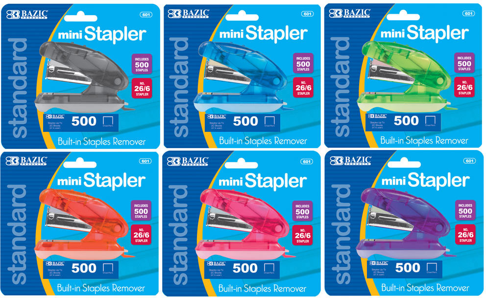 BAZIC Mini Standard (26/6) STAPLER w/ 500 Ct. Staples [311462]