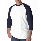 Anvil Mens White/Navy 3/4 Sleeve Baseball Tee Large Wholesale Bulk
