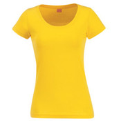 LA Clothing Womens Junior Deep Scoop Tee Yellow Medium