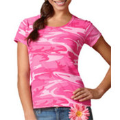 Code V Ladies' Fine Cotton Jersey Camouflage T-Shirt  - Pink Woodland (L)