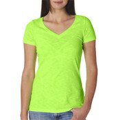 Next Level Womens Neon Green V-neck Shirt Small Wholesale Bulk