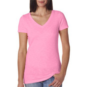 Next Level Womens Neon Pink V-neck Shirt Small Wholesale Bulk