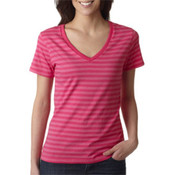 Anvil Womens Pink/Hot Pink Striped Tee Extra Extra Large Wholesale Bulk