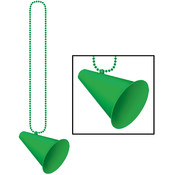 Beistle Company Beads with Megaphone Medallion - Green Wholesale Bulk