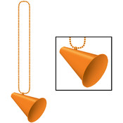 Beistle Company Beads with Megaphone Medallion - Orange Wholesale Bulk