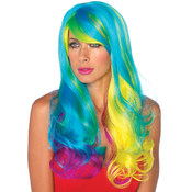 Prism Long Wavy Rainbow Wig, Multi-colored, 0-Small Wholesale Bulk