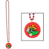 Beistle Company Bead Necklace with Tequila Worm Medallion Wholesale Bulk