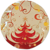 Beistle Winter/Christmas Tree Large Plates - 10.5' Wholesale Bulk