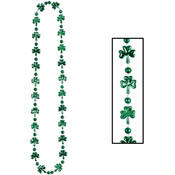 Necklace with Beads and Shamrock Leaves - 33 inch