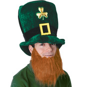 Plush Leprechaun Hat w/Beard Wholesale Bulk