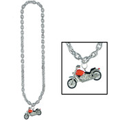 Silver Chain Beads w/Chopper Medallion Wholesale Bulk