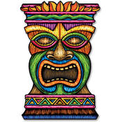 Beistle Luau Jumbo Tiki Cutout Printed on 2 Sides - 3' Wholesale Bulk