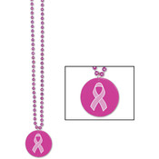 Beads w/Printed Pink Ribbon Medallion